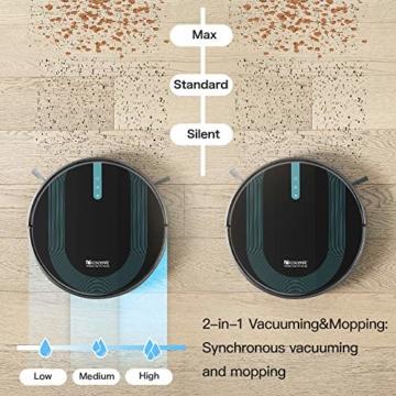 Proscenic 850T WLAN Saugroboter, Staubsauger Roboter, Alexa & Google Home & Appsteuerung, Saugroboter mit Wischfunktion, 3000Pa Saugleistung auf Teppichen und Hartböden, Magnetband für Begrenzung - 4