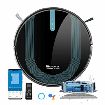 Proscenic 850T WLAN Saugroboter, Staubsauger Roboter, Alexa & Google Home & Appsteuerung, Saugroboter mit Wischfunktion, 3000Pa Saugleistung auf Teppichen und Hartböden, Magnetband für Begrenzung - 1